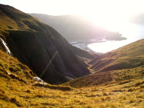 Looking down the Allt Slochd a'Mogha gorge to Long Beach, Knoydart (c) JP Mundy 2012