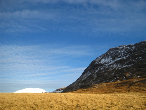 The tantalising but icy summit of Sgurr Coire na Choinnichean, with the snow-covered summit of Laddher Bhein peeking above the horizon (c) JP Mundy 2012