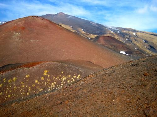 Volcanic cones of Mt Etna, Sicily, in winter