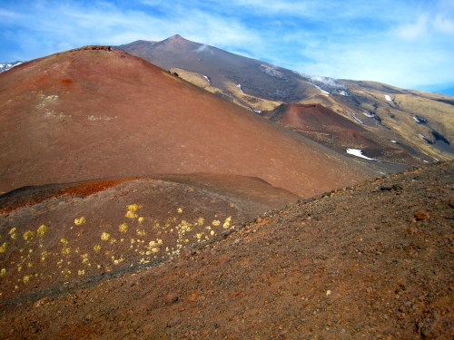 Volcanic cones of Mt Etna, Sicily, in winter