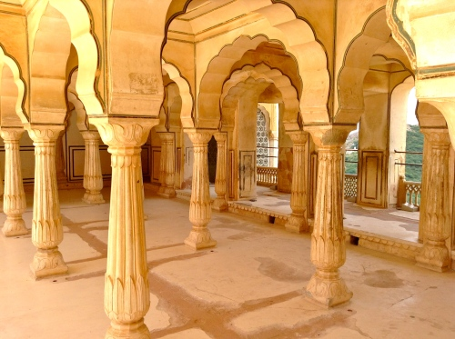 Cool marble sitting galleries, used by women at Amber Fort, Jaipur (and yes, that's solid marble!)