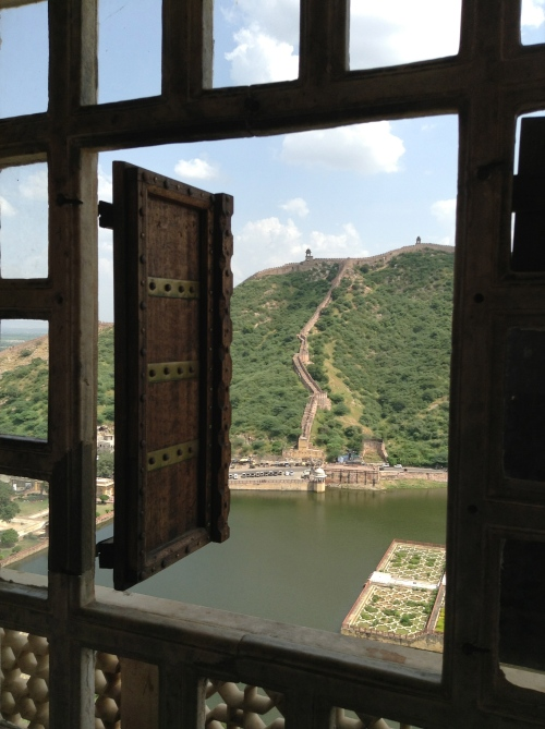 View across the lake from one of the corner ramparts at Amber Fort