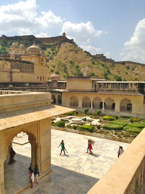 Central garden courtyard and audience pavillion, seen from the ramparts of Amber Fort