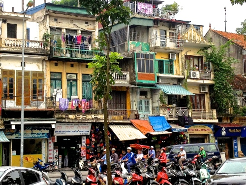 Crazy gorgeous streetscape, old city, Hanoi, near Hoan Kiem Lake (C) JP Mundy 2013