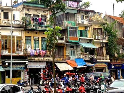 Crazy gorgeous streetscape, old city, Hanoi, near Hoan Kiem Lake (C) JP Mundy 2013