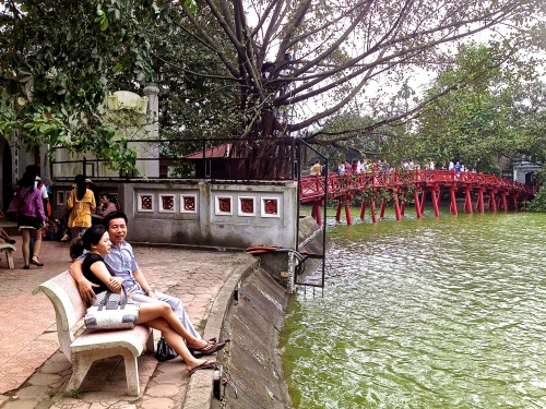 Taking in the view of the Tortoise Tower, Hoan Kiem Lake, central Hanoi