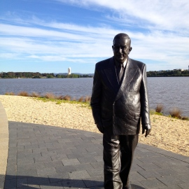 Watch out for life-size Prime Minister Robert Menzies strolling towards you on the RJ Menzies walk