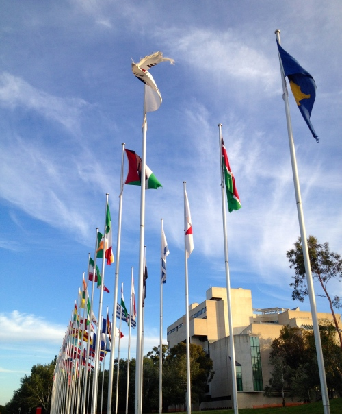 Canberra;s UN Display of Flags with the High Court in the background