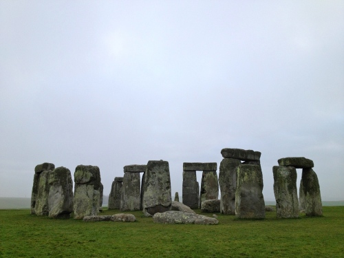 Stonehenge in the winter's sun (Well, the sun is trying at least, the clouds and mist just seem to get in the way!)