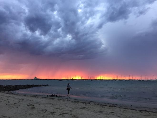 'Double Sunset' over St Kilda Beach, 8 Feb 2015 (c) JP Mundy